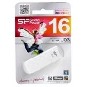 Внешний накопитель 16GB USB Drive <USB 2.0> Silicon Power Ultima U3 White (SP016GBUF2U03V1W)